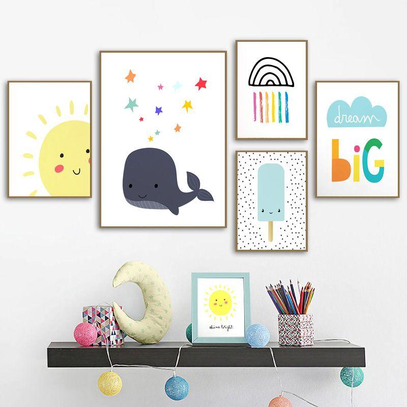 Shine Яркая улыбка ВС Детские Детские Canvas Плакат Солнечный свет Печать вдохновляющие цитаты Картина NordicDecor Картина для детей номер
