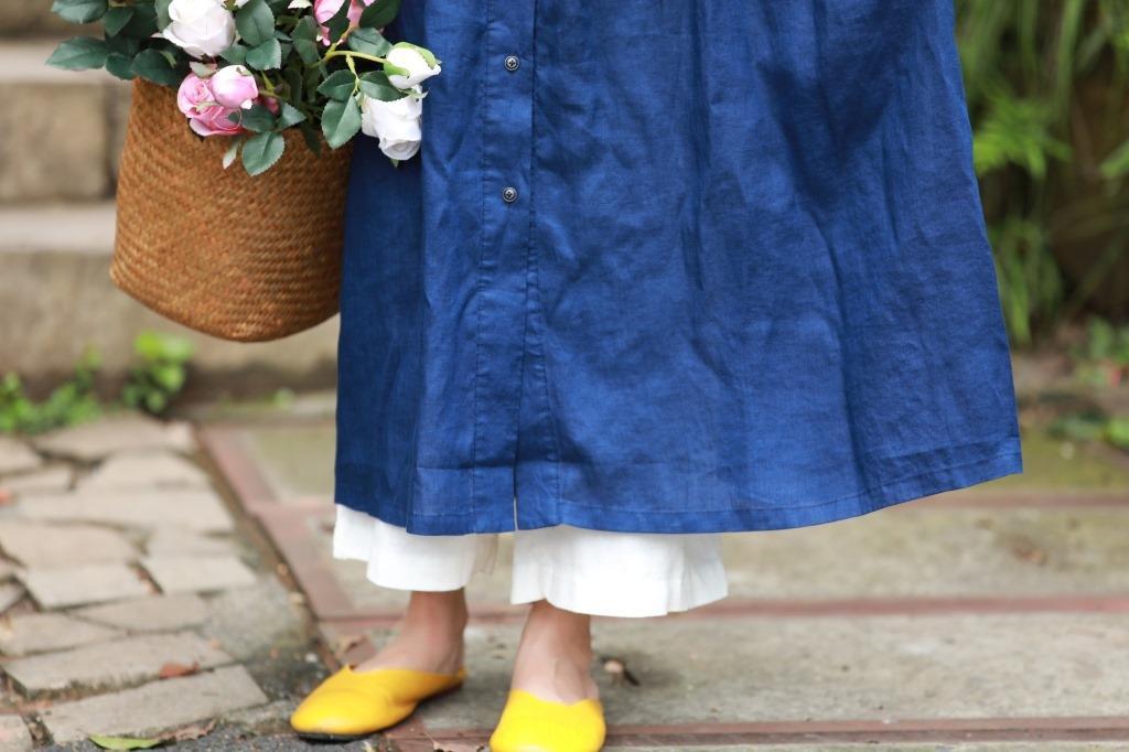 Y753 primavera y otoño nuevo color de lino cazadora cazadora contraste visten el vestido de tamaño de costura hecha a mano estilo literario floja grande