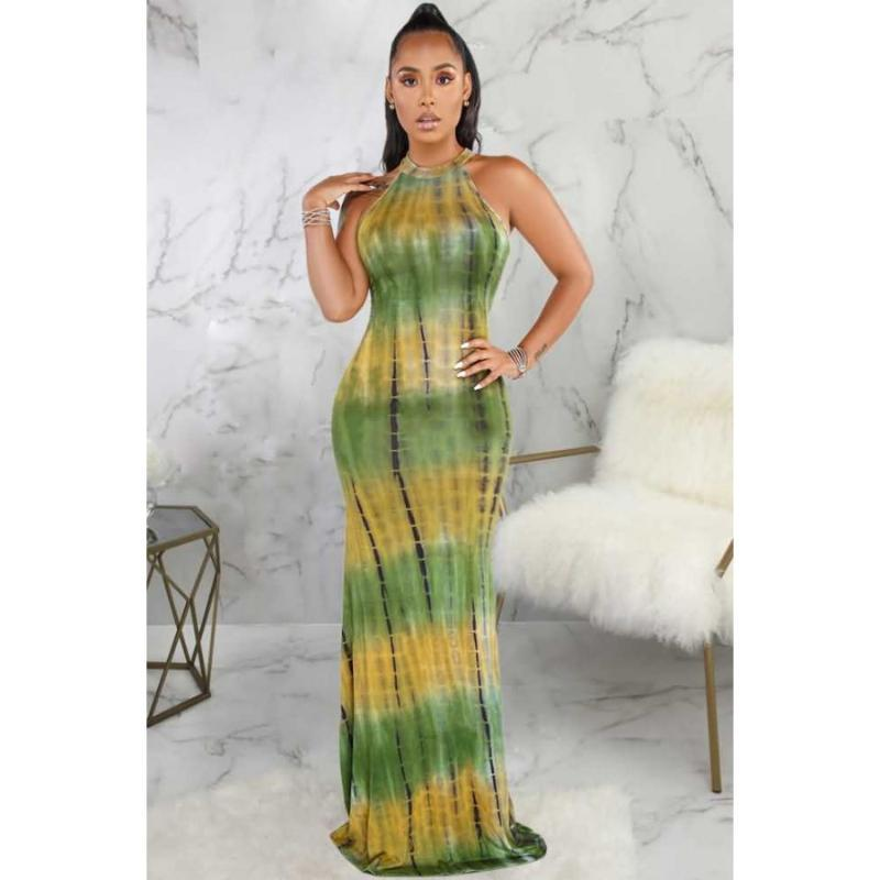 2020 Green Cutout Tie Dye Race Back Sexy Maxi Dress Women Plus Size Beachwear Swimsuit Cover Up Sarongs A415