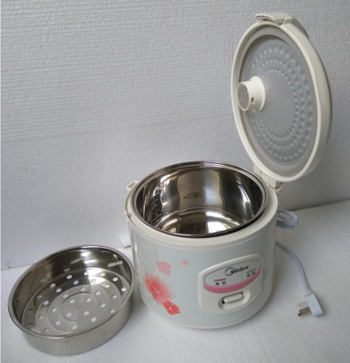 3L portátil Midea elétrica panela de arroz YJ308J 220V não aço inoxidável furar o recipiente interno + vapor ferramentas cesta cozinhar + ficha de conversão (dom)