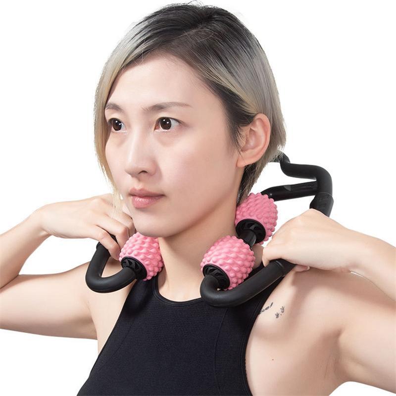 Trigger Point Massaggio Rullo per piedino del braccio del collo tessuto muscolare per il Fitness Gym yoga Pilates Sport 4 ruote JK2005XB