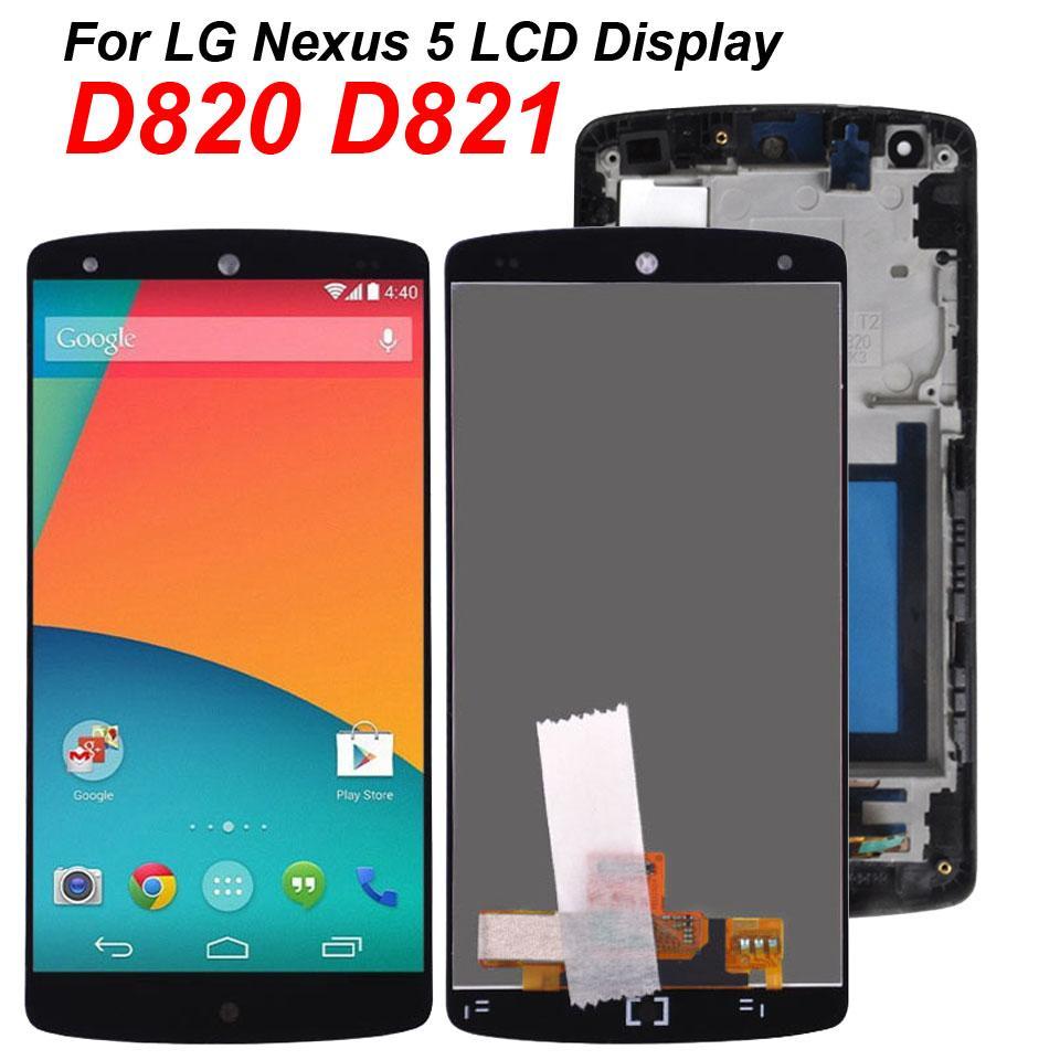 100% Probado 4,95 pulgadas de pantalla original para LG Nexus 5 D820 D821 LCD de pantalla táctil de la Asamblea digitalizador marco Con