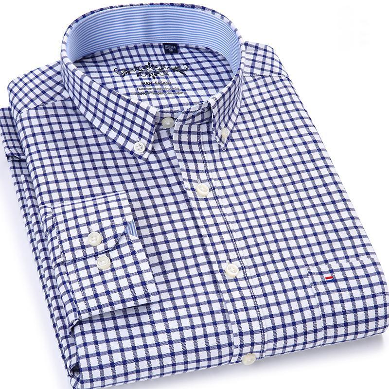 남성의 격자 무늬는 검사 옥스포드 셔츠 단일 패치 포켓 캐주얼 두꺼운 대비 표준 맞는 긴 소매 깅엄 셔츠 버튼 다운