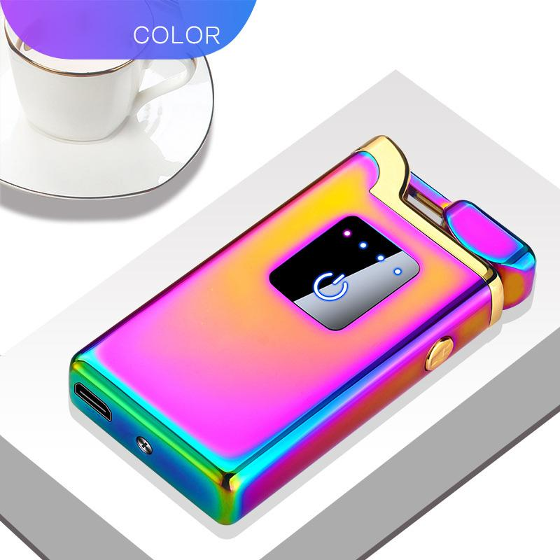 2 in 1 New Fashion Dual Arc Electronic Lighter Windproof Metal Pulse USB Rechargeable Electric Arc Double flame Lighter led light A2012030