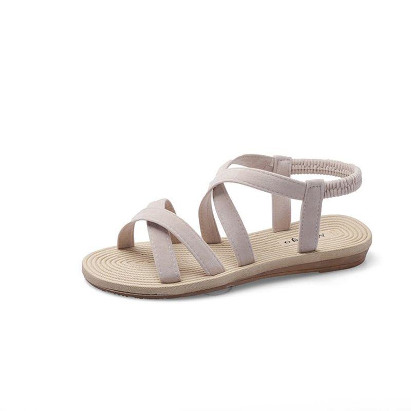 2020 Новый летний Рим Сандалии Женщина перевязью сандалии плоский берег Sandalias дамы Sandalia Feminina Open Toe обувь