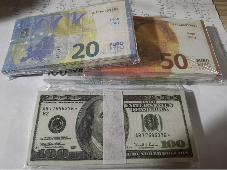 Fake Prop Money Paper 10 20 50 100 200 500 EUR 20 100 100 NOUVEAUX 100 DOLLARS 50 livres Billets Prix Banque Note 005