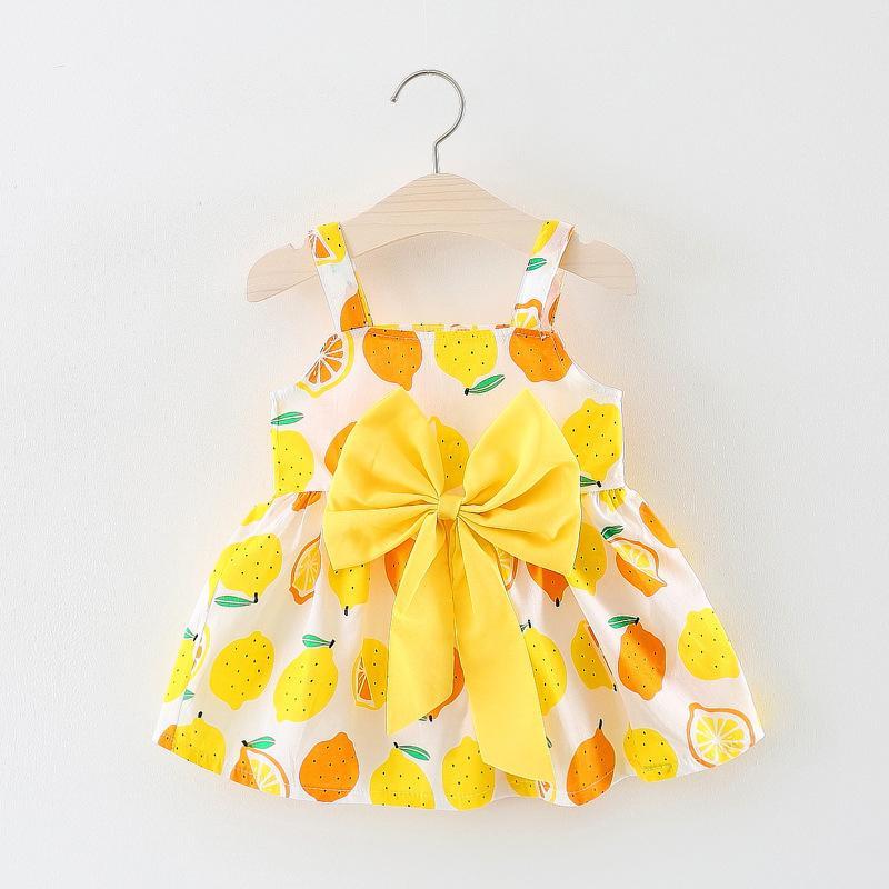 Nettes Sommerkleid Schöne Geburtstag Prinzessin Kleidung Kleinkind Mädchen Kinder Cotton Tupfen-Kleider gelbe Blumen koreanische Kleidung