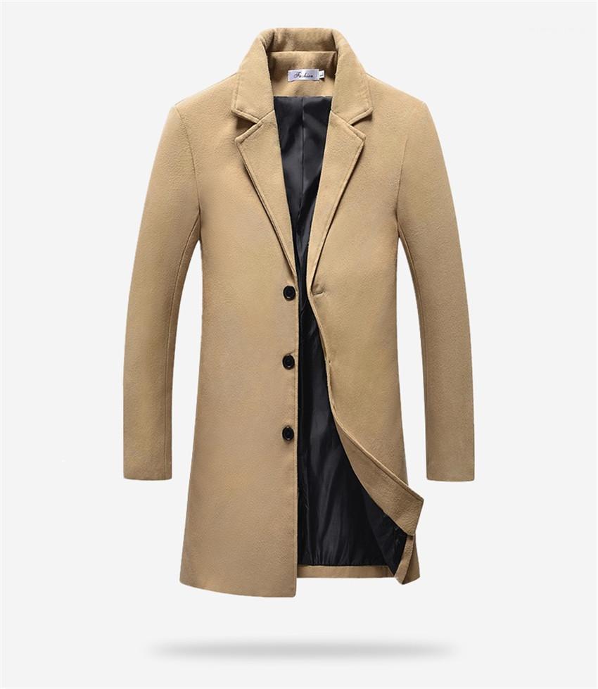 Homem Coats cor sólida manga comprida Homme Outerwears inverno longo Homens Blends Casual Fino lapela Neck