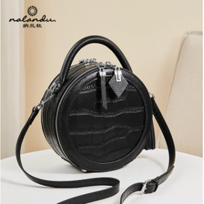E8 Nalandu Fashion handbag 2020 new fashion small round bag women s slung leather crocodile pattern black handbag trend