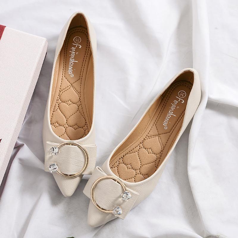 Verano Otoño pequeñas Tamaño 33 Zapatos de metal Decoración de microfibra de las mujeres zapatos de los planos de los holgazanes punta estrecha señoras de la oficina Caminar