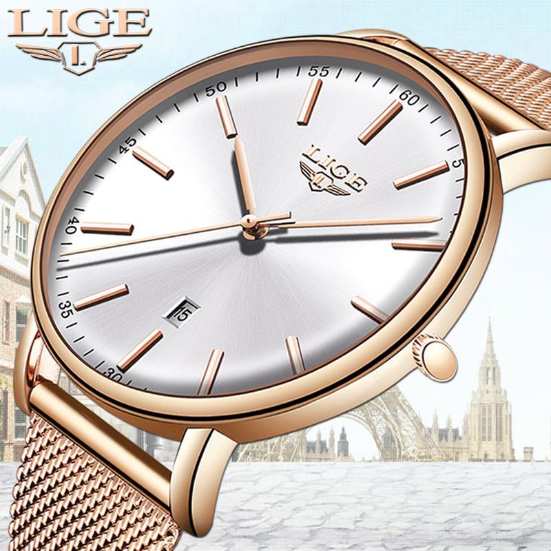 LIGE para mujer Relojes de primeras marcas de lujo del reloj impermeable manera de las señoras de acero inoxidable ultra-delgado Casual reloj de pulsera de cuarzo reloj CX200723