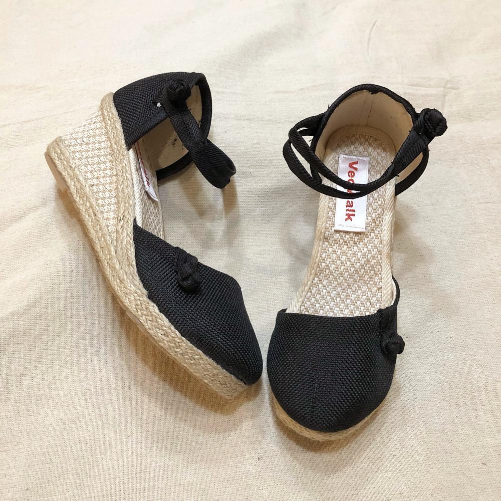 Veowalk donne dell'annata casuale Linen Canvas cuneo Sandali estate della cinghia della caviglia Med tallone della piattaforma della pompa Espadrillas Scarpe CX200715