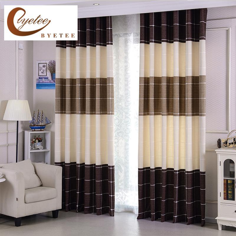 {Byetee} Janela Blackout Curtain Quarto Quarto moderno listrado cortinas Cozinha Cortina Cortinas Portas Tecidos para sala de estar