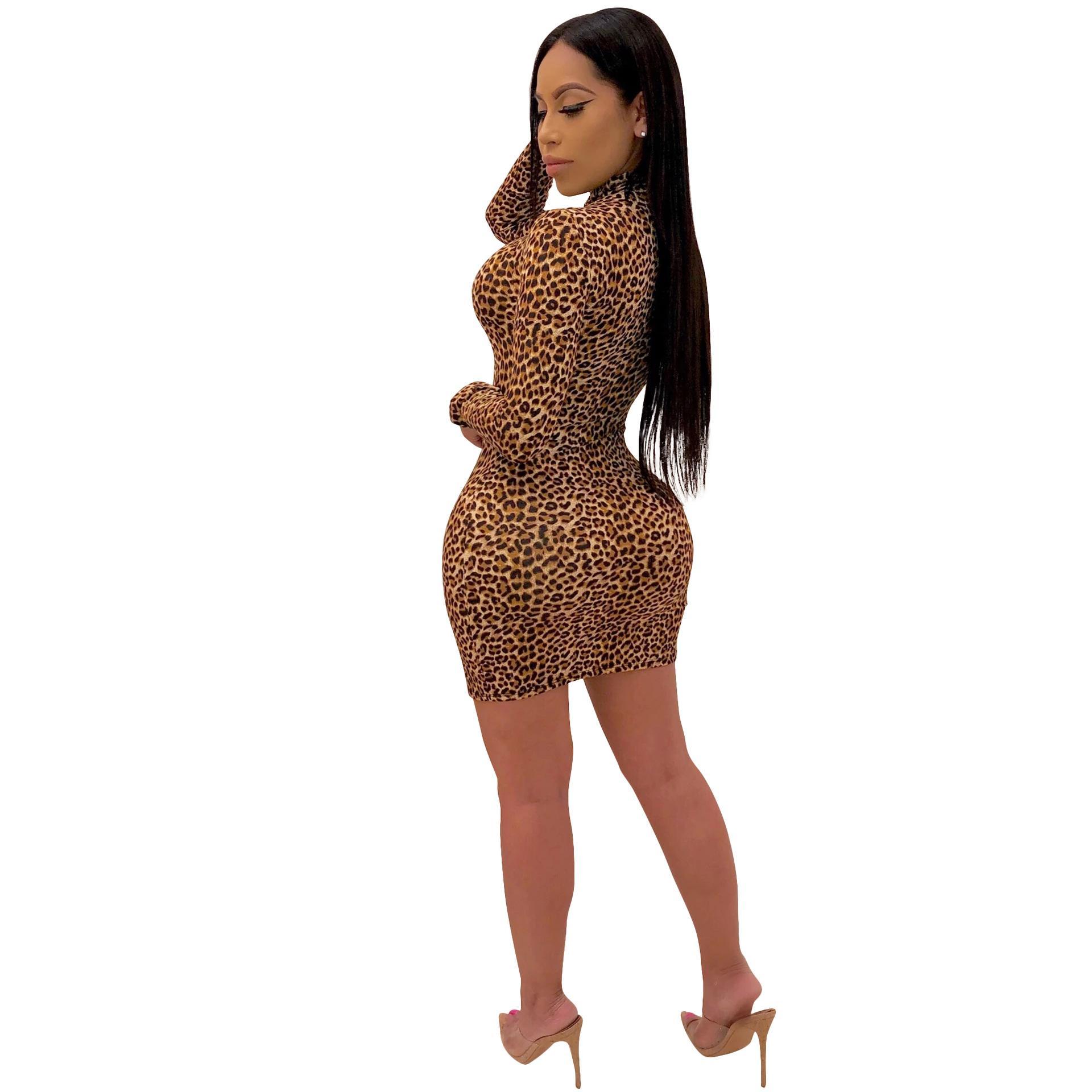Boyun Bayan Elbise Uzun Kollu Skinny Üstü Diz Elbise Günlük Çoklu renk seçeneği Tasarımcı Giyim Standı leopard