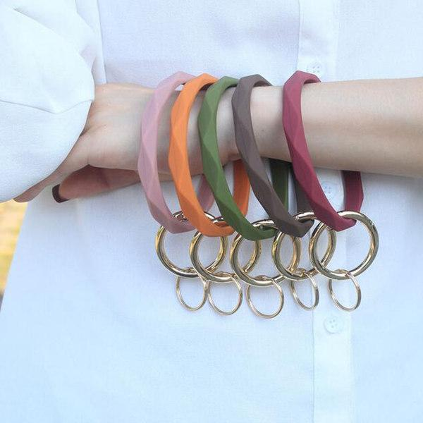 100pcs Silicone Bracelet Keychain Prismatic Bangle Unisex Geometric Key Ring Accessories Gift Purse Hang Decor