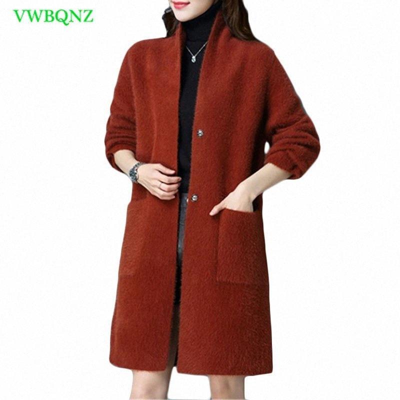 Pure Mink Cashmere Casual Cardigans Fashion Mink Cashmere Women Coat Ladies Woolen Coat High Quality New Womens Blends Coats 798 137x#