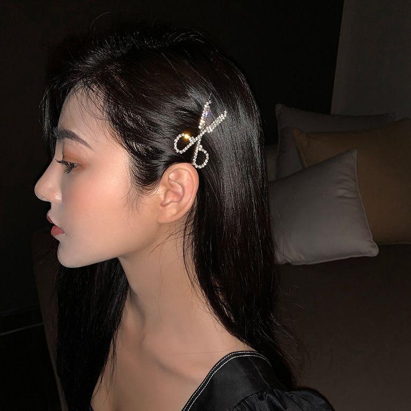 Makas Şekli Rhinestone Tokalar Kadınlar Kızlar Saç iğneler Tokalarım Düğün Gelin Şekillendirme Moda Elmas Saç Klipler HHA1452