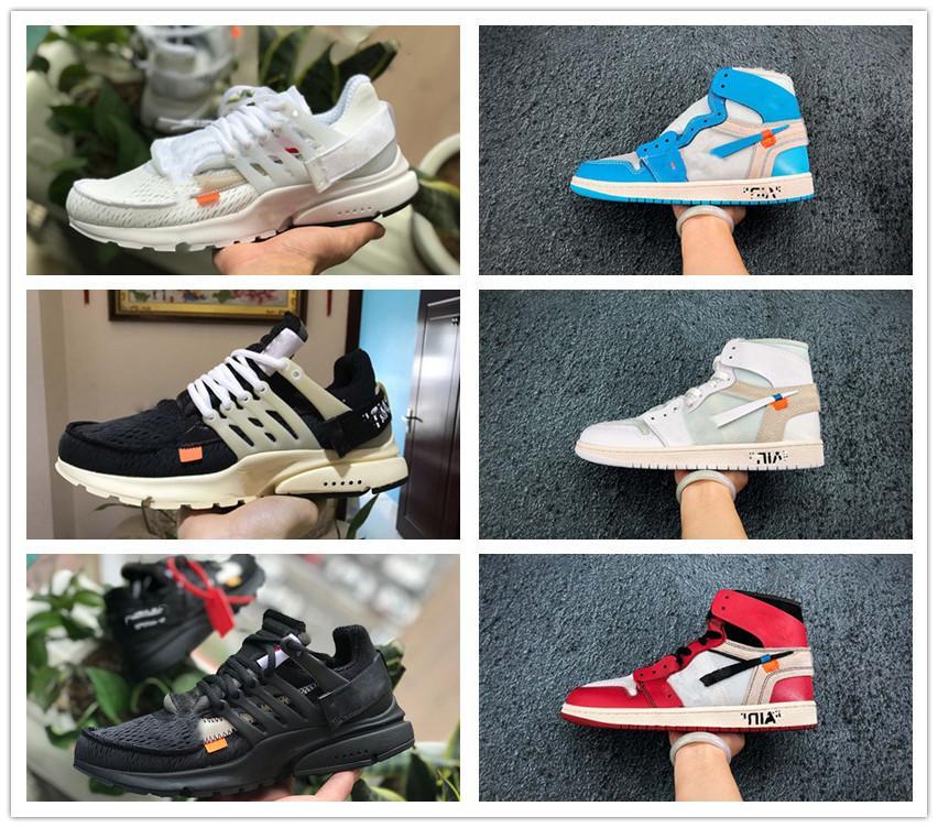 2020 novos co-branded 1 altos OG Chicago tênis de basquete Retros baratos Bred UNC obsidiana senhoras dos homens Presto V2 treinador de designer sneakers
