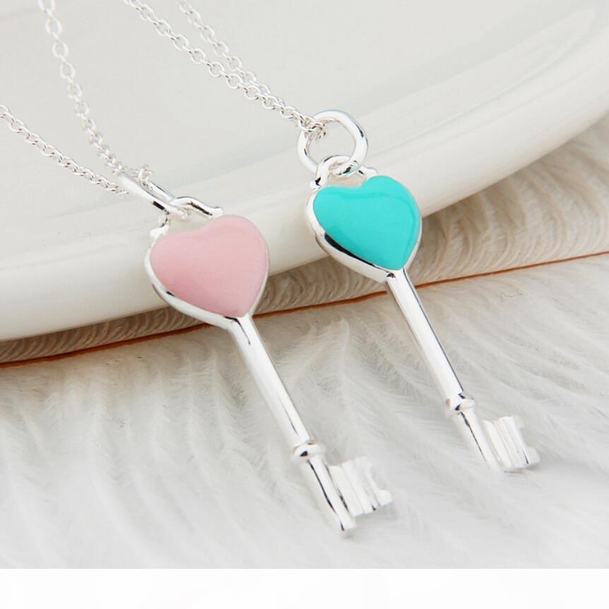 gioielli in argento sterling S925 collana pendente chiave del cuore collana dello smalto rosa neclace sweather blu per le donne