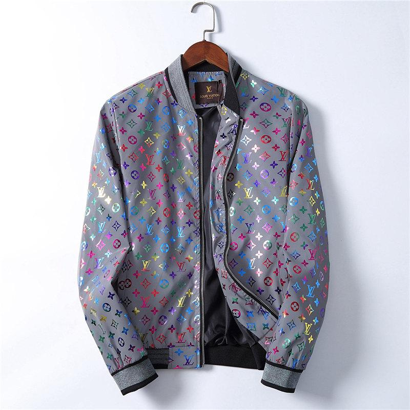 Mens Zipper giacche Designers Jacket Laser riflettente Stampa Giacca a vento con cappuccio colorato luminoso Immagine Abbigliamento Moda Uomo Giacche