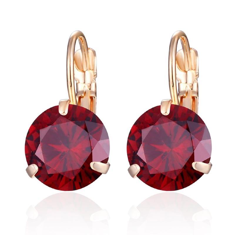 Classique 10mm ronde Zircon Boucles d'oreilles pour les femmes en or plaqué cuivre multi-couleurs Cadeaux Cristal CZ Petit Boucle d'oreille