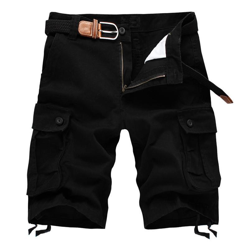 Pantalones anchos Multi bolsillo cargo Pantalones cortos masculino de algodón para hombre de color caqui táctico Short Shorts 2020 hombres del verano 29-44 sin cinturón