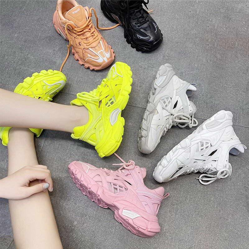 Kadınlar Paris Tasarımcı Platformu Lüks Ayakkabı üçlü s Sneakers Katman Kombinasyon Moda Günlük Retro Gün Spor Koşu Ayakkabı bize 5.5-us 8