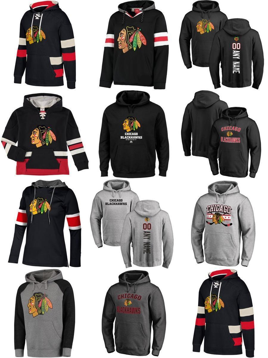Hot Sale Personalizado Mens Womens crianças Chicago Blackhawks baratos a melhor qualidade do bordado Logos Grey Black Ice Hockey Hoodies com Qualquer NameAny No.