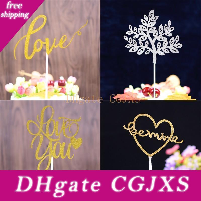 Mode Kuchen einlegen Karte für Wedding Alles Gute zum Geburtstag-Party-Kuchen-Deckel Liebe Pachira Macrocarpa Kuchen Flags Schnitzen 0 33kq BB