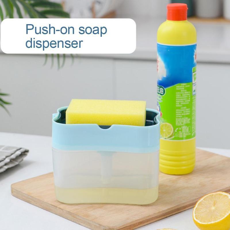 Cozinha sabão de lavar louça Detergente Imprensa Dispenser Container com limpeza Pads Soap Organizador de cozinha ferramentas de limpeza