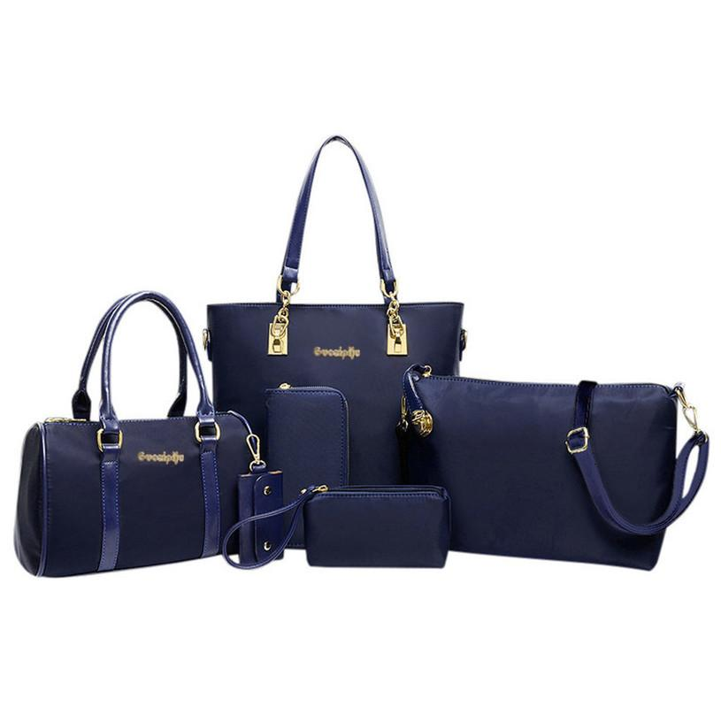 6pcs Set Femmes Mode sac à main Six Piece Set épaule sac à bandoulière Sac à main Sac fourre-tout Femmes d'embrayage Mochila G10