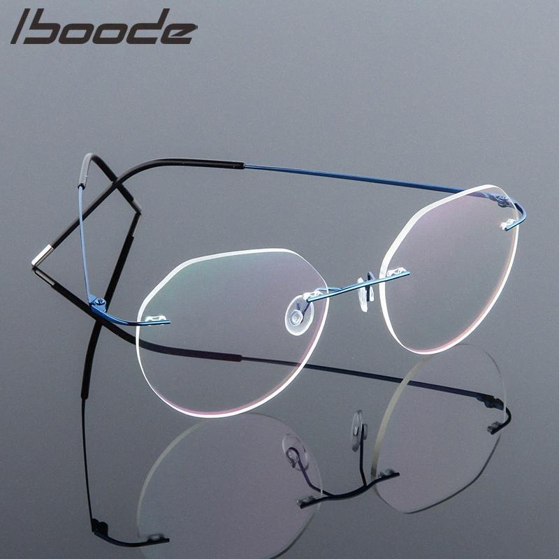 Iboode Ultralight Gözlükler Çerçeveler Bellek Titanyum Çerçevesiz Okuma Gözlüğü Erkekler Kadınlar Presbiyopik Gözlükler Marka Tasarım 2020 EGCN #