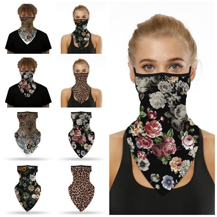 Popüler leopar baskı dijital baskı yüzü üçgen binme maskesi böcek geçirmez Sihirli Eşarp maskeleri dağcılık DWC04