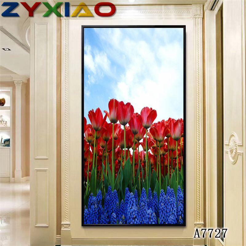 ZYXIAO Poster und Drucke Blume rote Tulpe moderne Ölgemälde-Segeltuch No Frame Wandbilder für Wohnzimmer Hauptdekoration A7727