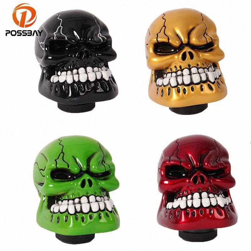 POSSBAY Car Gear Shift Knob Skull Shifter Lever Knob Interior Accessories Green/Black/Red/Gold/Silver Car Handbrake Grip GwVu#