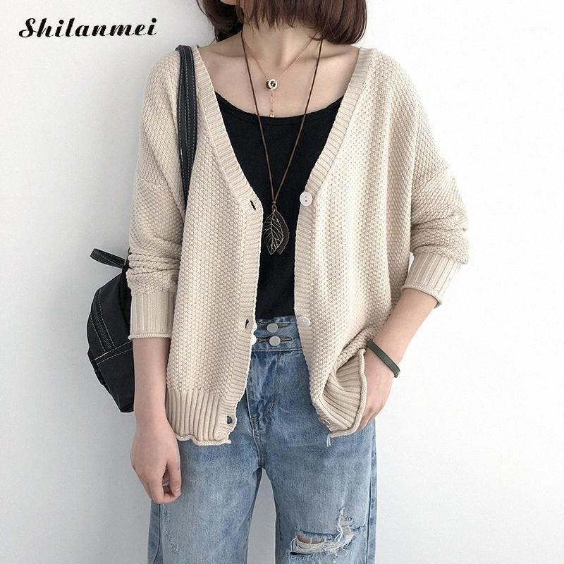 2019 Herbst dünne Strickjacke koreanische Art-Weiß Solild lose Strickjacke-Mantel-Frauen Single Button Winter-Damen-lässige Coat1 6Laj #