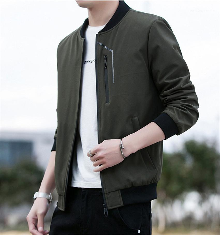 Stand Collar Mens Jackets Spring Autumn Long Sleeve Slim Solid Color Man Coats Casual Cardigan Streetwear Male Outerwears