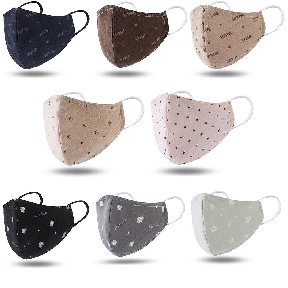 Petit mode marguerite couverture 4 couches pliant visage design lavable masque bactéries de la bouche de poussière réutilisables masques de visage particules dustproofCotton