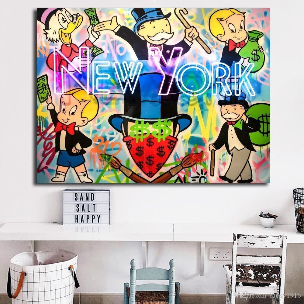 Señal de neón de Nueva York Por Arte Alec Monopoly pintada del cartel óleo abstracta moderna de la pintura sobre lienzo dormitorio decoración de la pared Imágenes