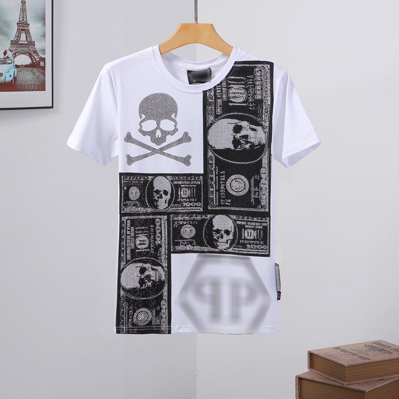 erkek tasarımcı t shirt Mens Kafatası tişört Yüksek Kalite baskı t shirt Tees tasarımcı spor çantası Phillip düz Phillip Düz PP yy108