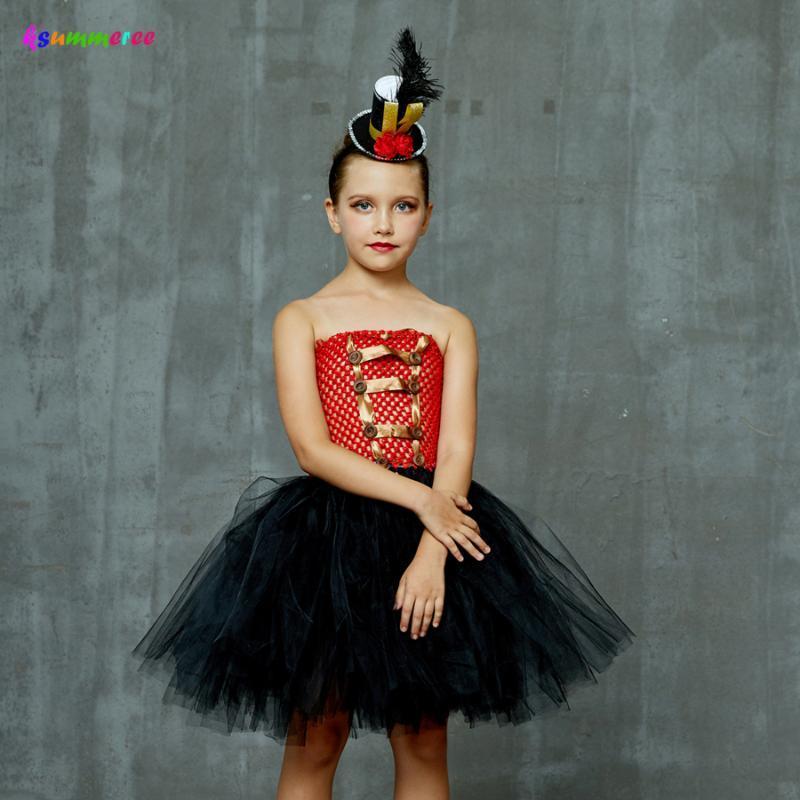 Ragazze Ringmaster Costume Circo Schiaccianoci Fancy Dress Tutu bambini di Tulle della festa di compleanno del vestito dalla ragazza di Halloween i vestiti