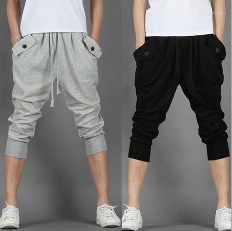 Drawstring Повседневный Кнопка Capris Карманный Capris Мужчины Hip Hop Mens брюк Мода Сыпучие Спортивные штаны Man Summer