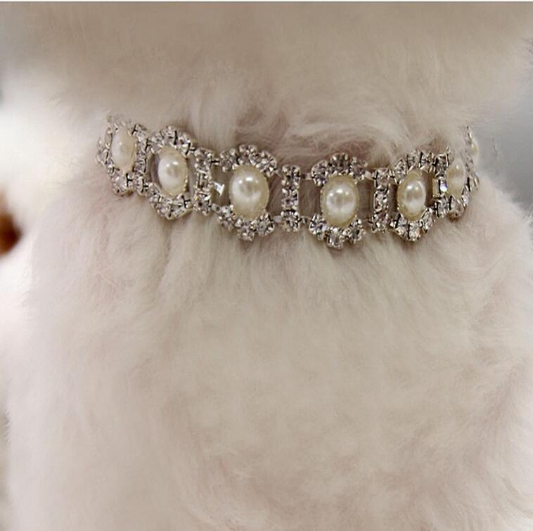 Bling Collar Rhinestone Pérola Dog colar da liga Diamante do filhote de cachorro Pet Coleiras trelas para Little Cães Mascotas Acessórios gratuito navio