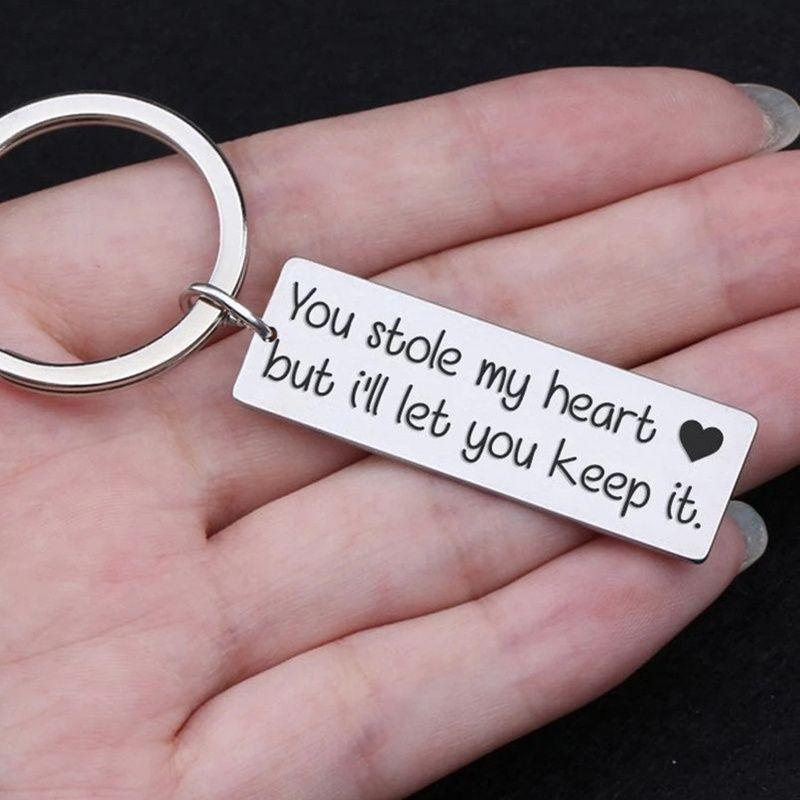 17 Styles Namorado Keychain presente dos Valentim amante do marido Keyrings presente para ele Mens Stainless Steel Chaveiro
