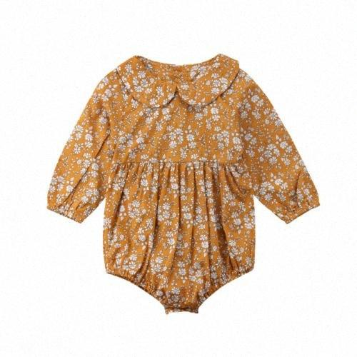 0-24 месяцев Девочки Одежда Желтый оборками Детские Bodysuit Комбинезон цветочный принт Одежда для девочек Наряды Dropshipping 5ckf #