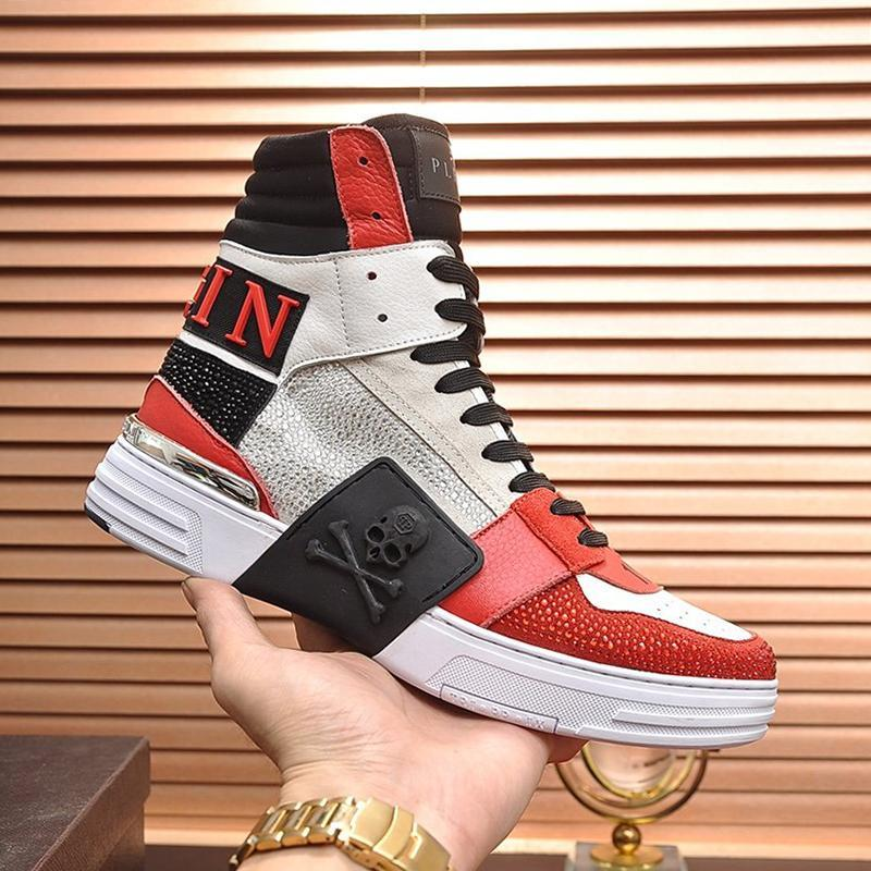 Mens Shoes Casual Fashion Boots Top Quality Lace -Up Platform Fitness Footwears Zapatos De Hombre Phantom Kick $Hi -Top Crystal Mens Shoes