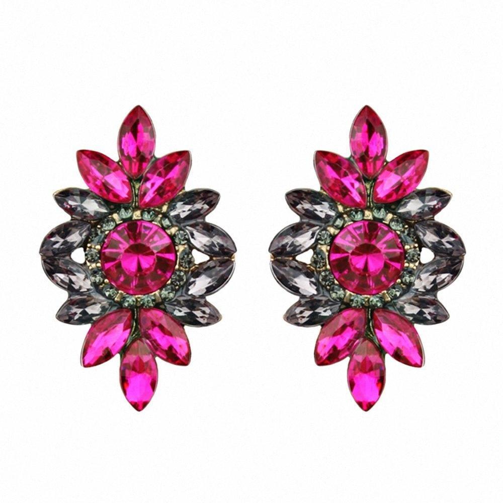 1 paire de mode Feuille strass Boucles d'oreilles en métal élégant Feuilles en alliage Boucles d'oreilles pour les femmes fille Bijoux j3zu Cadeau #