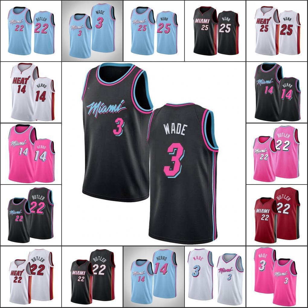 MiamiSıcaklıkErkekler DwyaneWade Tyler Herro Jimmy Butler Kendrick NunnNBA 2019-20 Basketbol Forması