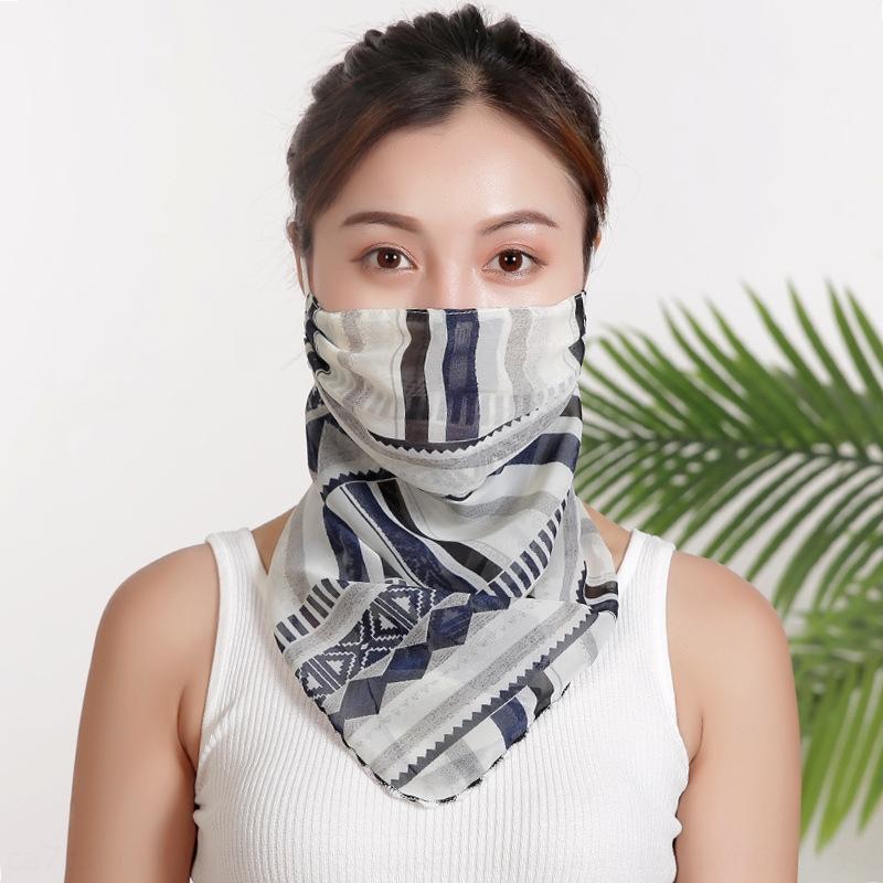 Estate orecchio velare UV a prova di chiffon protezione solare maschera esterna che guida maschera antipolvere collo sciarpa ultra-sottile q9x2X