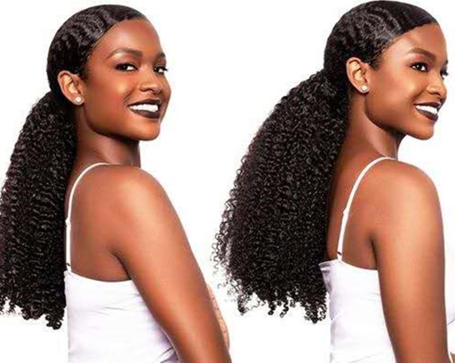 3B 3C Kinky Curly PonyTails Clips Pince à cheveux vierges Brésilien dans les extensions de cheveux humains Jet Black Couleur 1